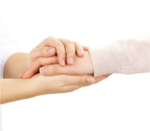 Holding hands for support