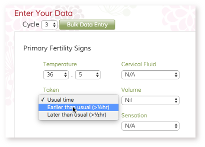 Screenshot of online fertility charting system
